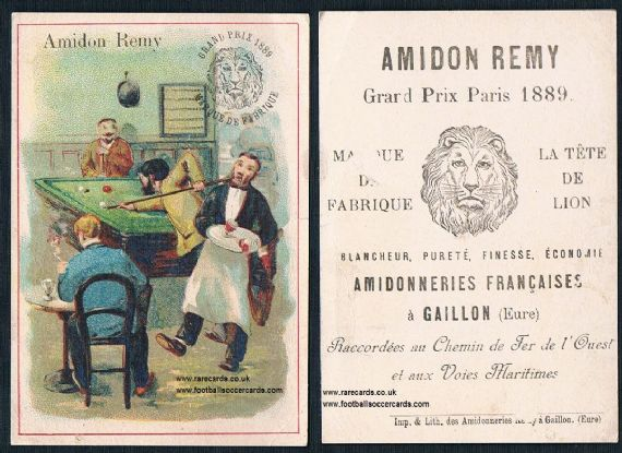 1890s Amidon Remy snooker billiards French trade card